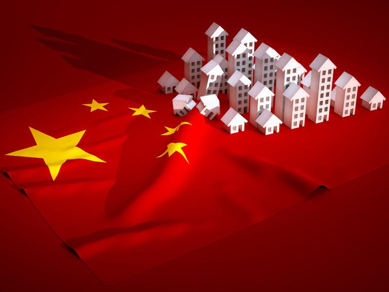 Drapeau chinois avec des maisons en porcelaine