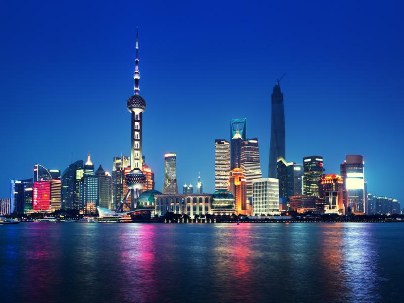 Shanghai en Chine la nuit