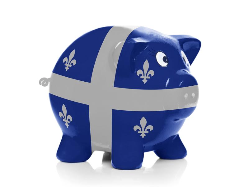 Tirelire avec drapeau du Québec