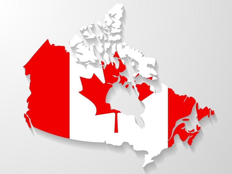 Carte du Canada avec drapeau de feuille d'érable
